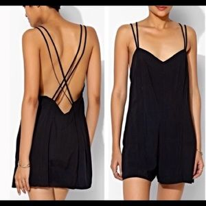 UO Silence + Noise Strappy Back Black Romper
